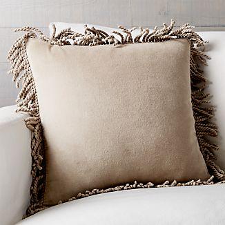 """Brenner Hummus 18"""" Fringe Velvet Pillow with Feather-Down Insert"""