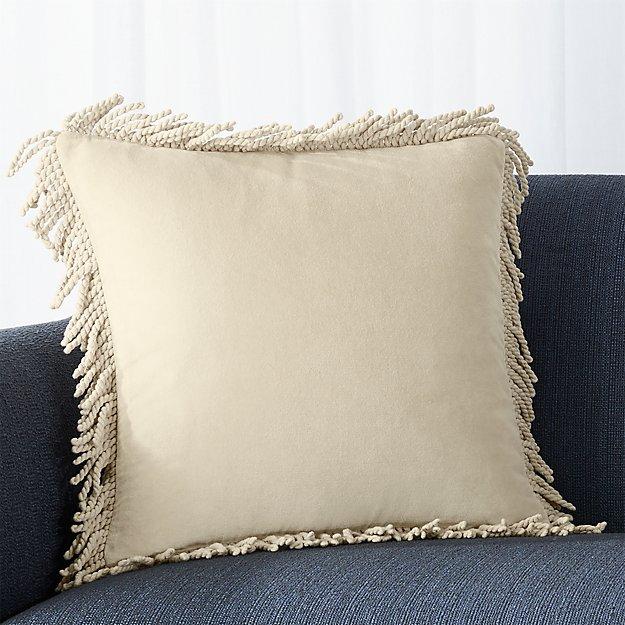 """Brenner Sesame 18"""" Fringe Velvet Pillow with Feather-Down Insert"""