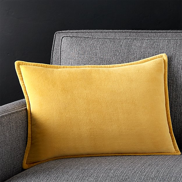 "Brenner Spicy Mustard 18""x12"" Velvet Pillow with Down-Alternative Insert"