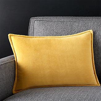 "Brenner Spicy Mustard 18""x12"" Velvet Pillow with Feather-Down Insert"