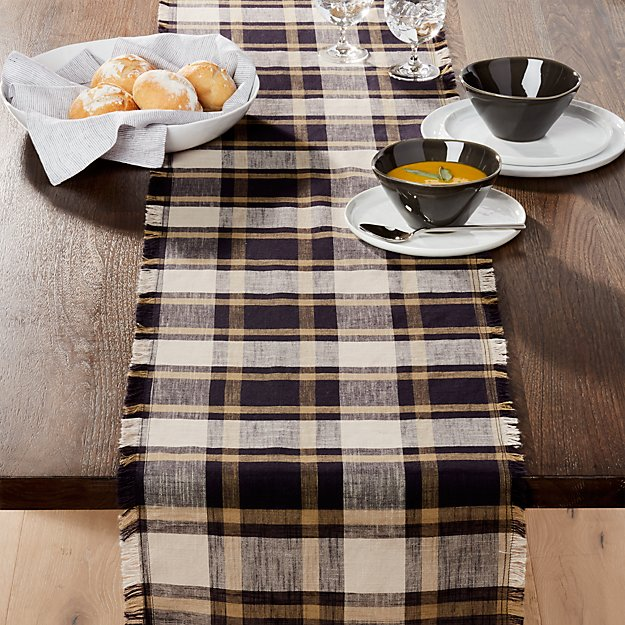 "Broderick Plaid 120"" Table Runner"