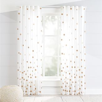Bronze Polka Dot Curtains Kids