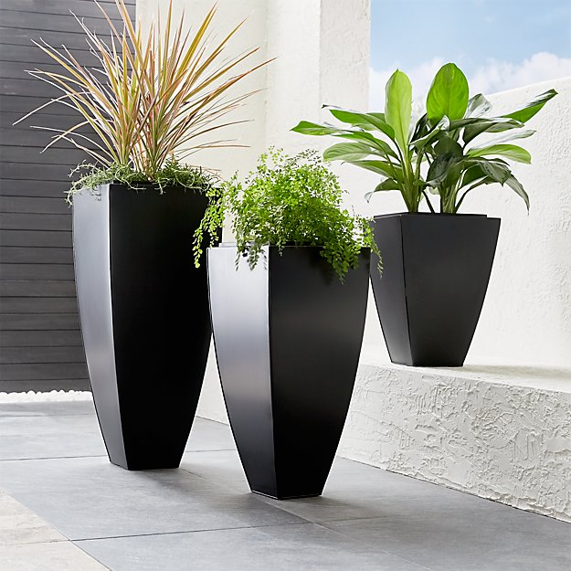 Bronze Tall Tapered Planters Crate and Barrel