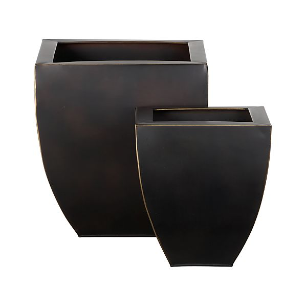 Set of 2 Bronze Tapered Planters
