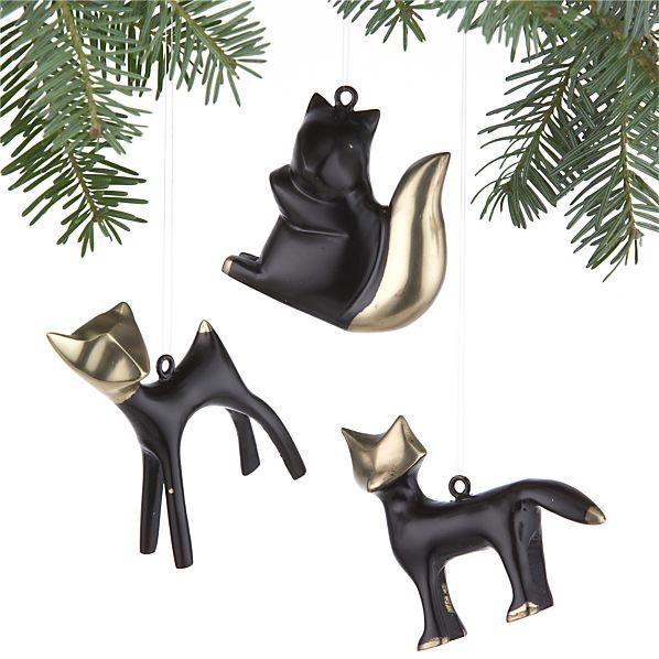 Set of 3 Woodland Bronze Creature Ornaments