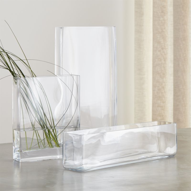 Brooklyn Rectangular Glass Vases Crate And Barrel