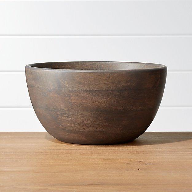Brooks Grey Wood Serving Bowl Reviews Crate And Barrel