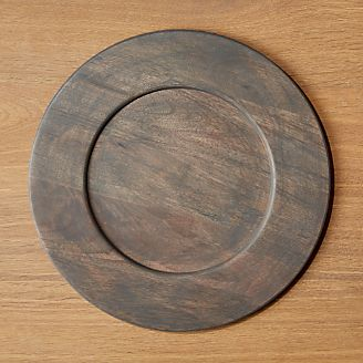 Brooks Grey Wood Charger & Charger Plates and Buffet Plates | Crate and Barrel