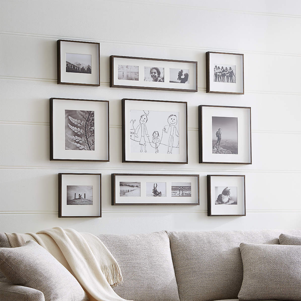 Brushed Antique Bronze Picture Frame Gallery Set Of 9 Reviews Crate And Barrel