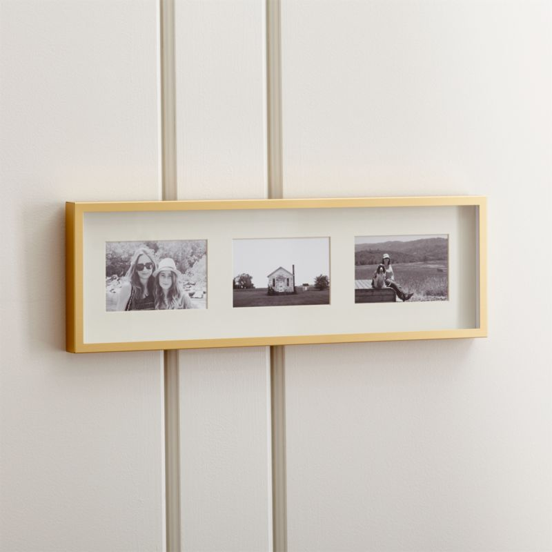 Brushed Brass 3-4x6 Wall Frame + Reviews | Crate and Barrel