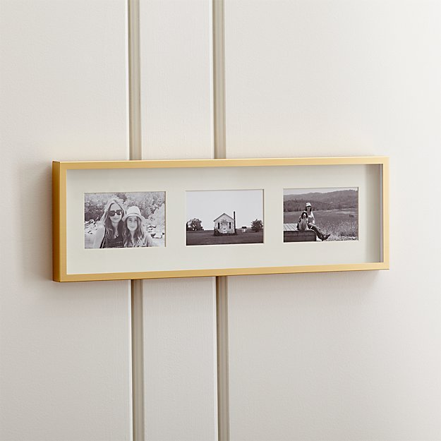 Brushed Brass 3-4x6 Wall Frame - Image 1 of 10
