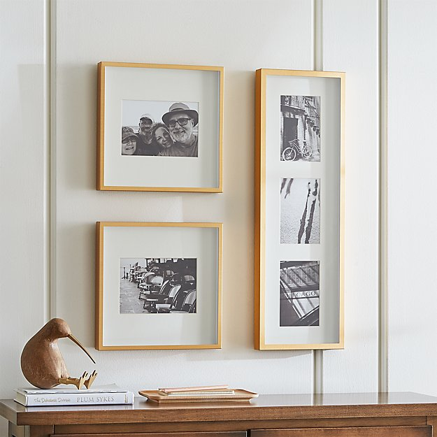 Brushed Brass Picture Frame Gallery, Set of 3 - Image 1 of 3