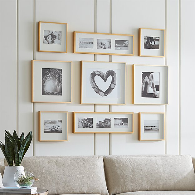 Brushed Brass Picture Frame Gallery, Set of 9 - Image 1 of 2
