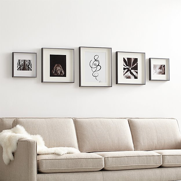 Brushed Gunmetal Picture Frame Gallery, Set of 5 - Image 1 of 2