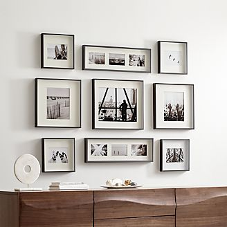Brushed Gunmetal Picture Frame Gallery Set Of 9