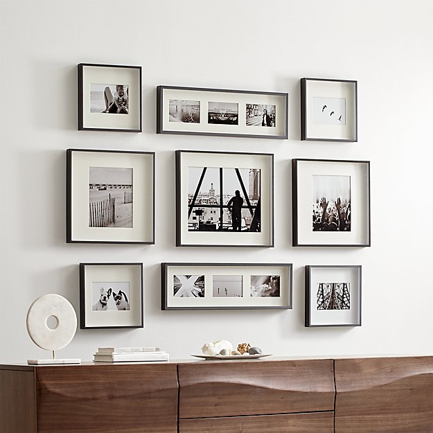 Brushed Gunmetal Picture Frame Gallery, Set of 9 - Image 1 of 2