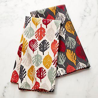 brushed leaves dish towels set of 2 - Kitchen Towel Sets