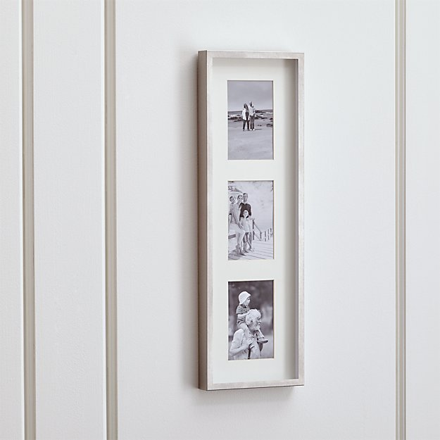 Brushed Silver Triple 4x6 Wall Frame + Reviews | Crate and Barrel
