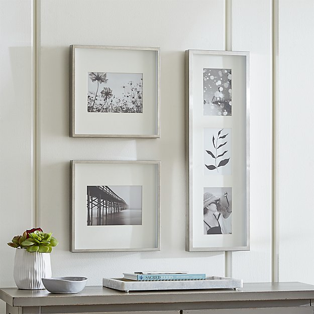 Brushed Silver Picture Frame Gallery, Set of 3 - Image 1 of 2