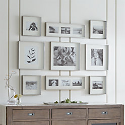 Brushed Silver Picture Frame Gallery, Set of 9