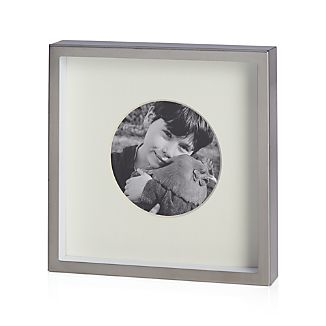 "Brushed Silver Frame 3.25"" Round"