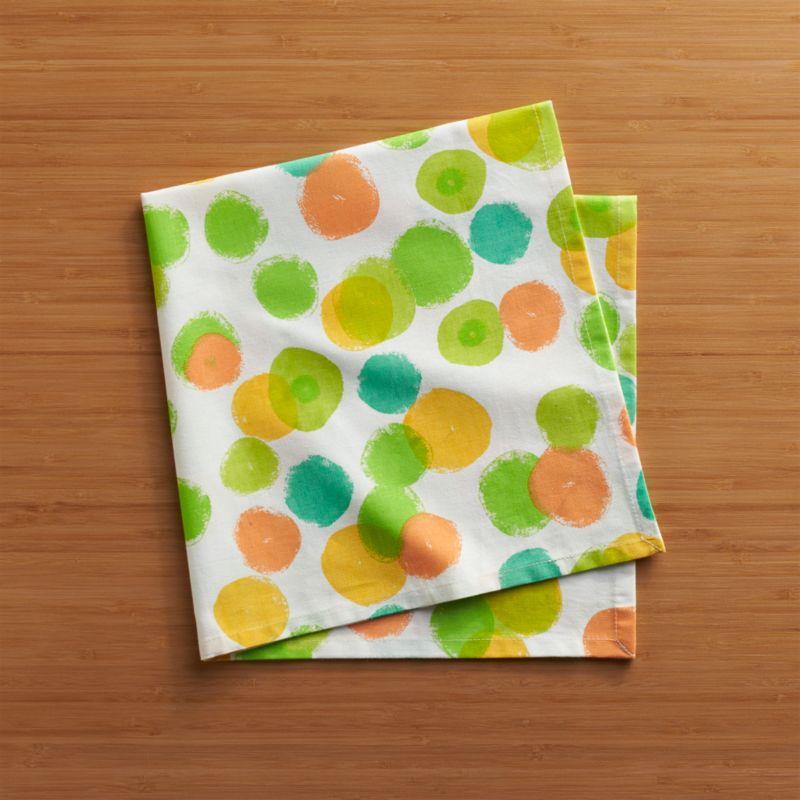 Bubbly dots scatter white cotton napkin with a confetti parade of watercolor brights.<br /><br /><NEWTAG/><ul><li>100% cotton</li><li>Do not bleach</li><li>Machine wash cold, tumble dry; warm iron as needed</li><li>Made in India</li></ul>