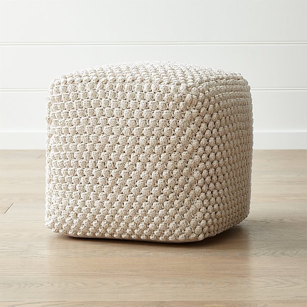buco 20 x20 off white pouf reviews crate and barrel. Black Bedroom Furniture Sets. Home Design Ideas