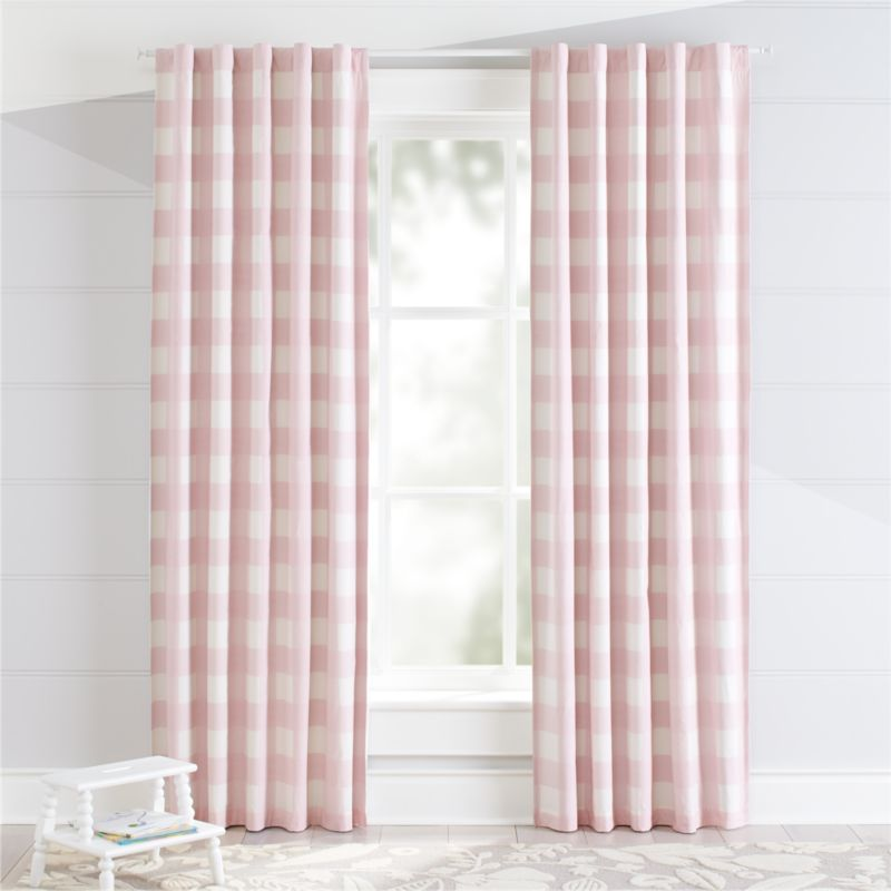 Pink Buffalo Check Curtain Crate And Barrel
