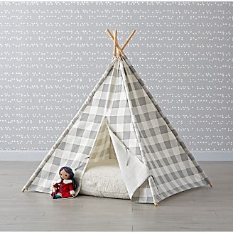 Grey Buffalo Check Teepee & Playhouses Teepees u0026 Tents | Crate and Barrel