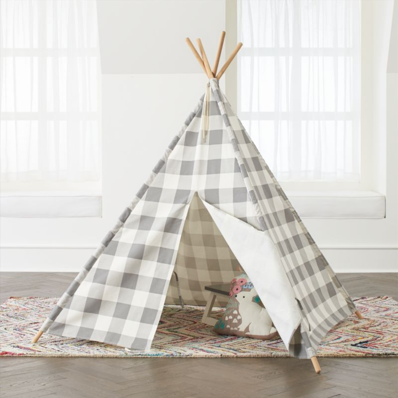 Grey Buffalo Check Teepee Reviews Crate And Barrel