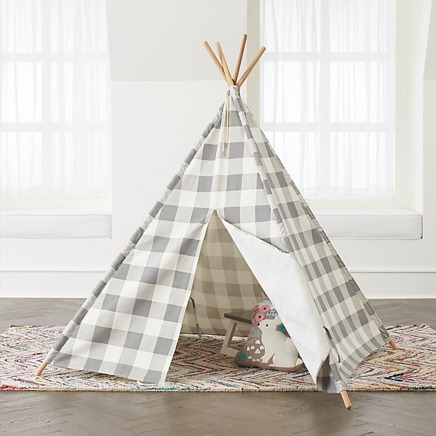 c92d28f4 Grey Buffalo Check Teepee + Reviews | Crate and Barrel