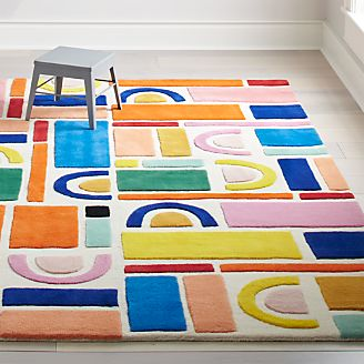 Building Blocks Rainbow Rug Kids