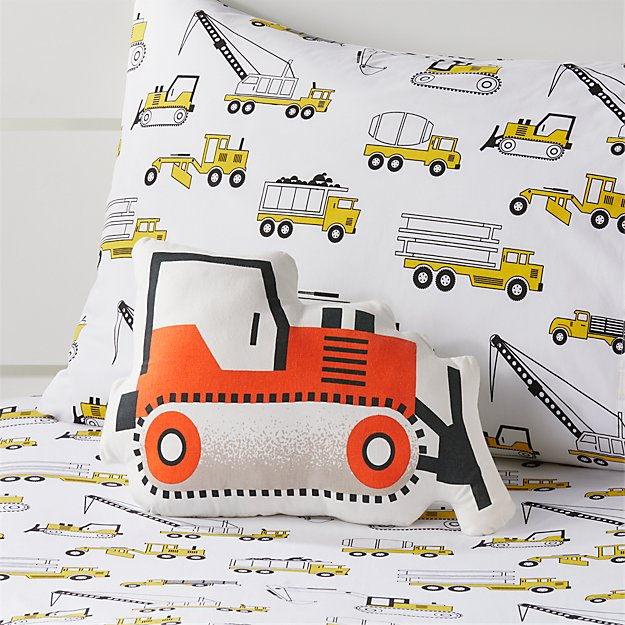 Bulldozer Throw Pillow + Reviews | Crate and Barrel