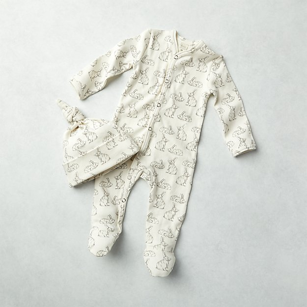 c98c0ede4 Bunny Kate Quinn Organic One-Piece and Hat Set | Crate and Barrel