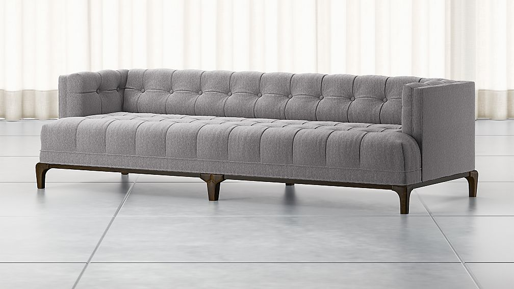 Byrdie Grey Modern Tufted Sofa + Reviews | Crate and Barrel
