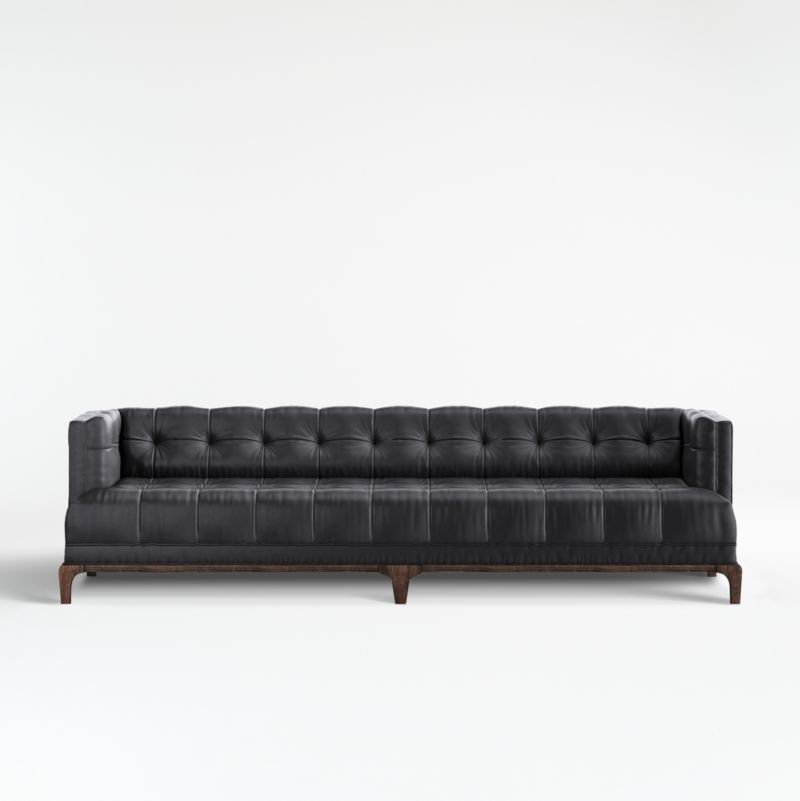 Byrdie Black Leather Modern Tufted Sofa + Reviews   Crate And Barrel