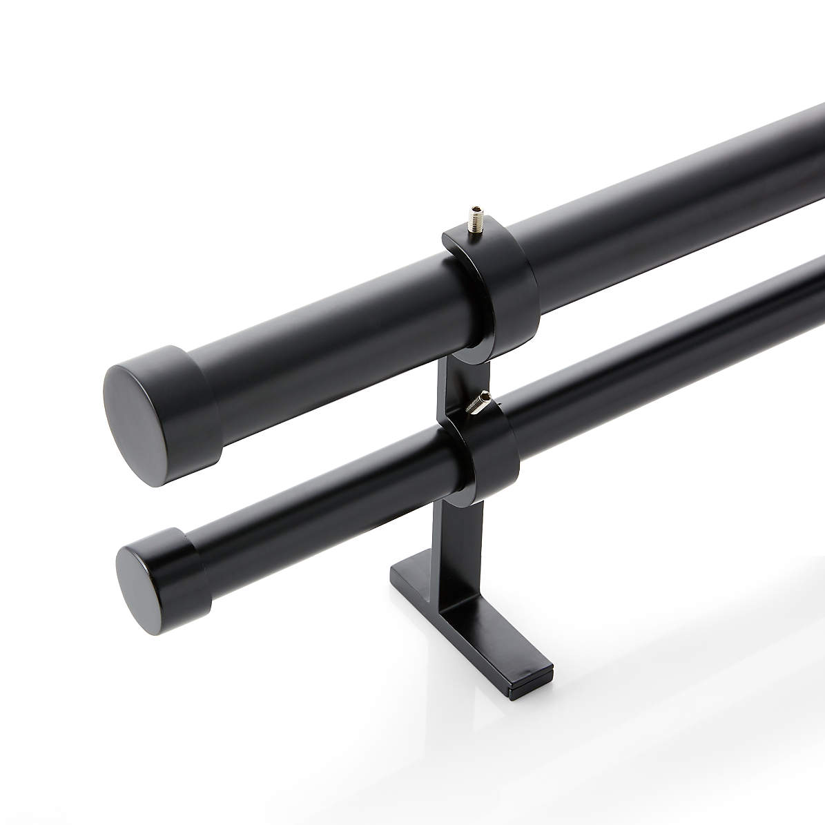 Cb Matte Black Double Curtain Rod And End Cap Finial Set 120 170 Reviews Crate And Barrel