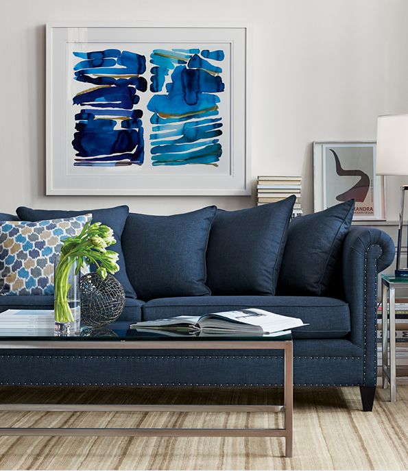 Living Room Featuring Durham Sofa In Sapphire, Era Rectangular Glass Coffee  Table, Lynx Natural