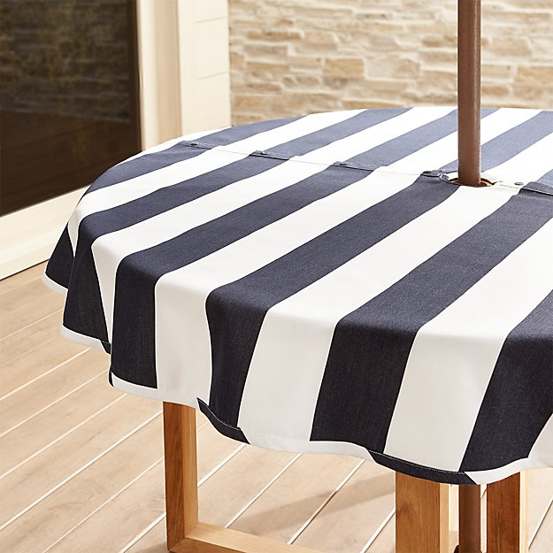 "Cabana Navy Stripe Umbrella 60"" Round Tablecloth"