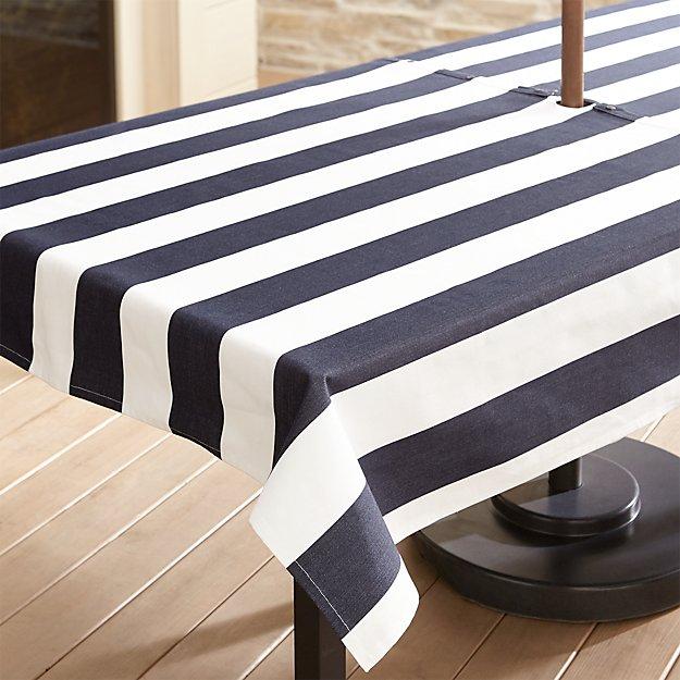 "Cabana Navy Stripe Umbrella 54""x90"" Tablecloth"