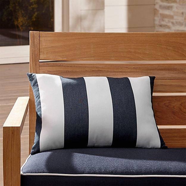 Sunbrella ® Cabana Stripe Navy Outdoor Lumbar Pillow - Image 1 of 6
