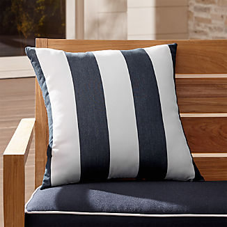 "Sunbrella ® Cabana Stripe Navy 20"" Sq. Outdoor Pillow"