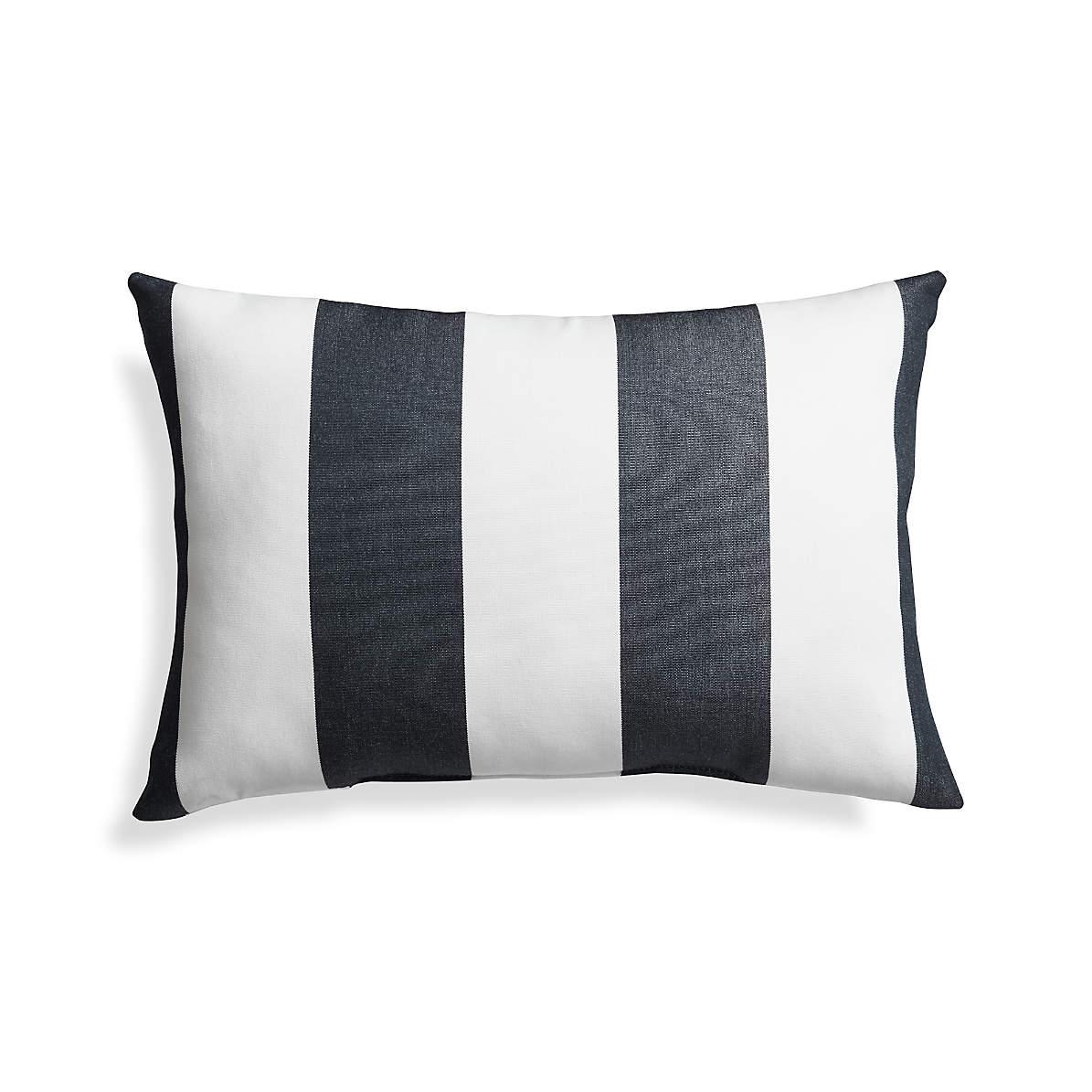 Sunbrella Cabana Stripe Navy Outdoor Lumbar Pillow Reviews Crate And Barrel