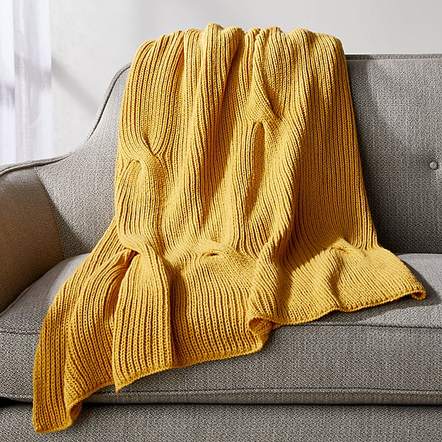 Saffron Cable Knit Throw - Image 1 of 7