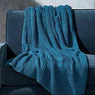 Teal Cable Knit Throw