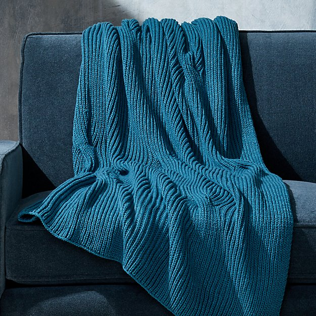 Teal Cable Knit Throw Reviews Crate And Barrel