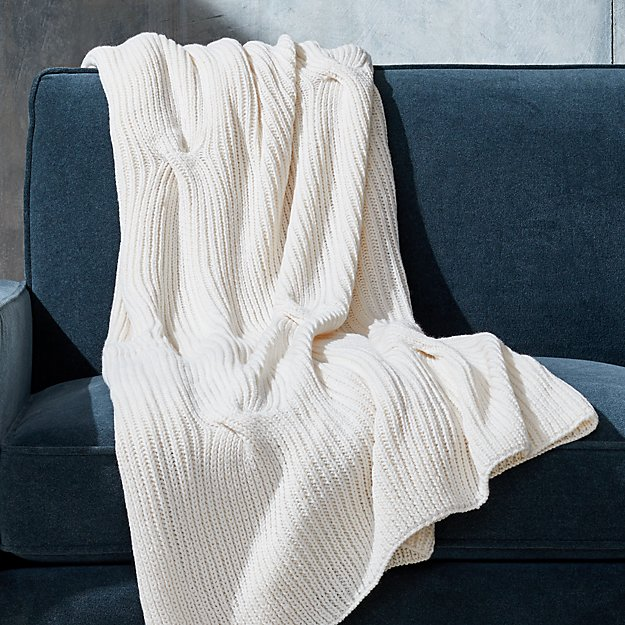 Warm White Cable Knit Throw - Image 1 of 5
