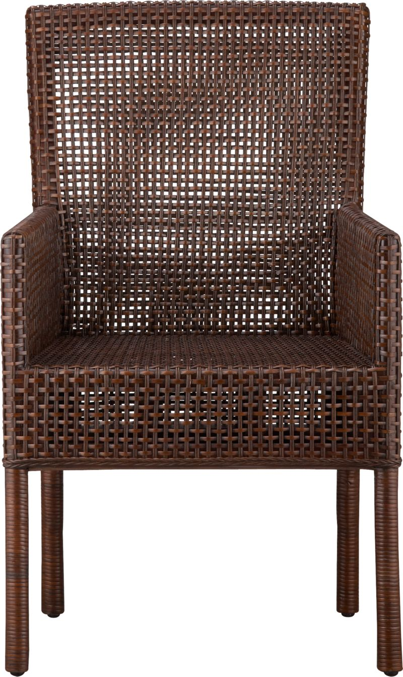Refined mahogany and rustic rattan take a tropical turn in this woven rendition of our Cabria chair. Warm auburn stain is finished with a black wash for added character. Back is curved for comfort; high arms have a sheltering effect.<br /><br /><NEWTAG/><ul><li>Solid mahogany and rattan chair</li><li>Auburn brown stain with black wash</li><li>Nylon floor protectors</li></ul>