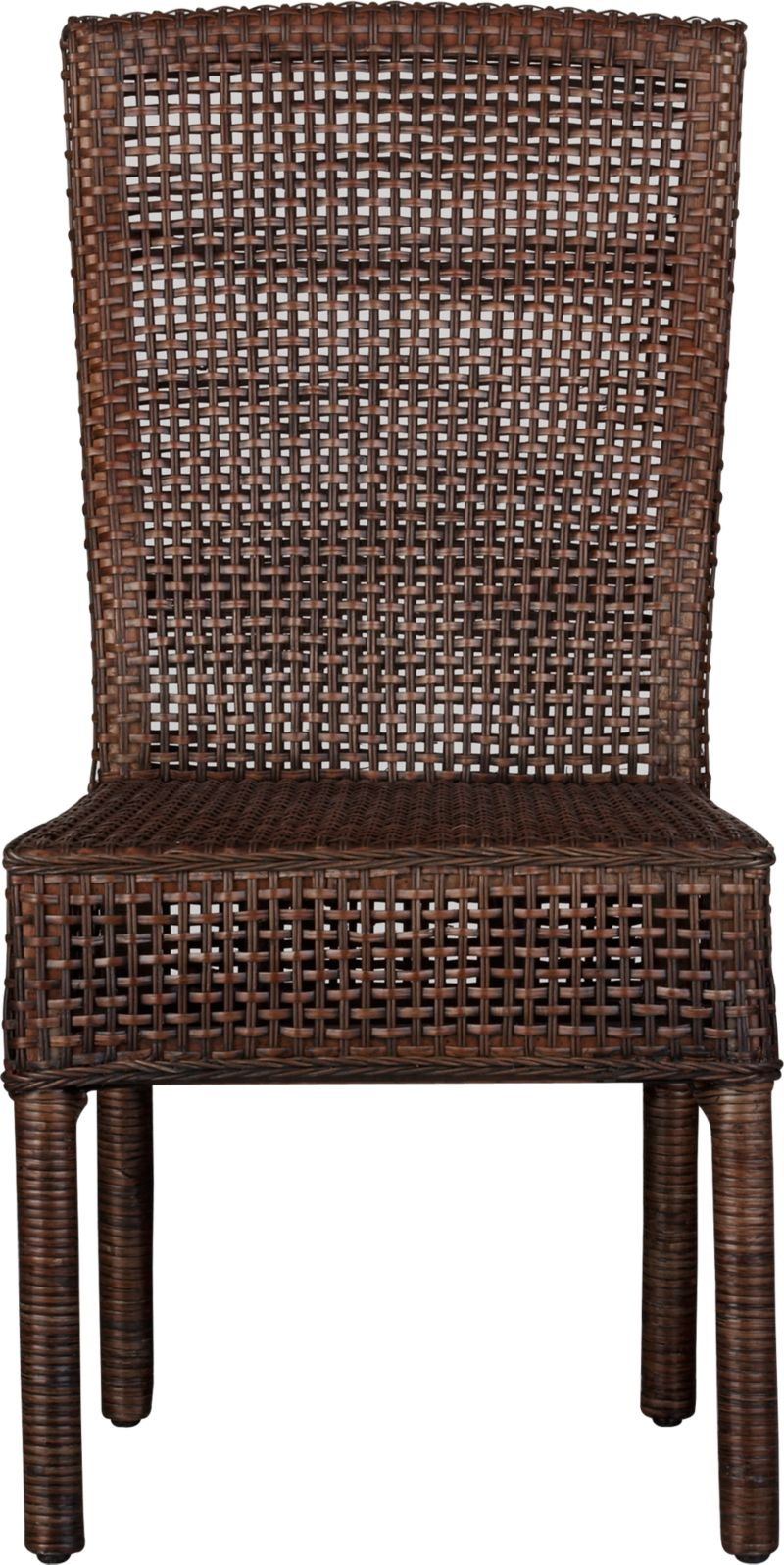 Natural handwoven rattan is woven over a solid mahogany frame and enhanced with warm auburn and black tones in a tropical rendition of the Parsons style chair. Back is curved for comfort.<br /><br /><NEWTAG/><ul><li>Mahogany and rattan</li><li>Auburn stain with black wash</li><li>Clear protective lacquer finish</li><li>Floor protectors</li><li>100% cotton cushion with urethane fill</li><li>Dry clean</li><li>Made in Indonesia</li></ul>