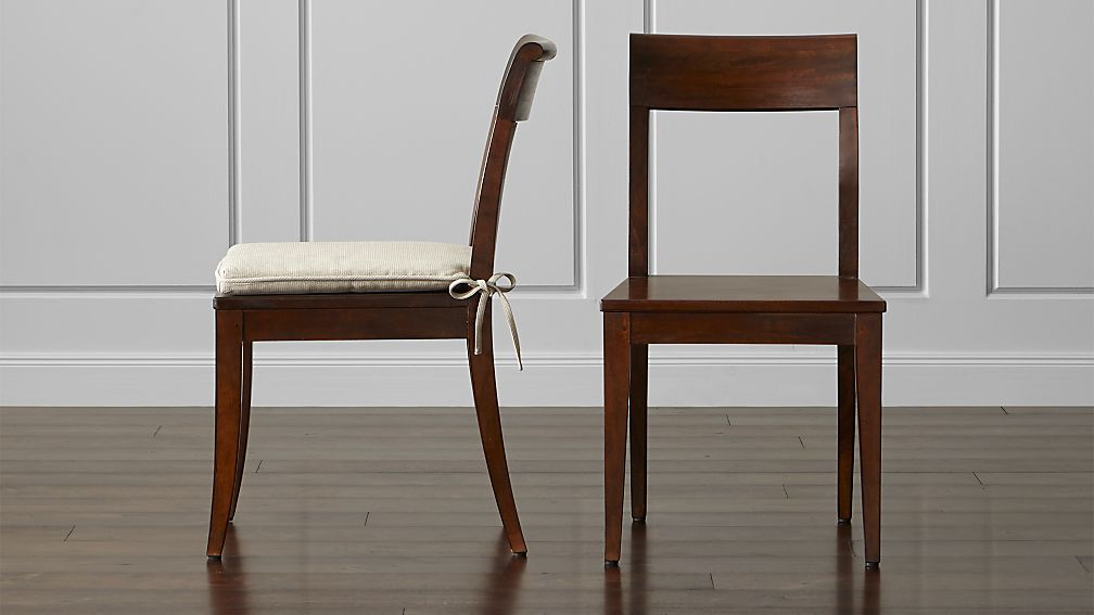 cabria honey brown wood dining chair and cushion | crate and barrel